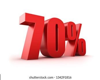 3D Rendering of a seventy percent symbol