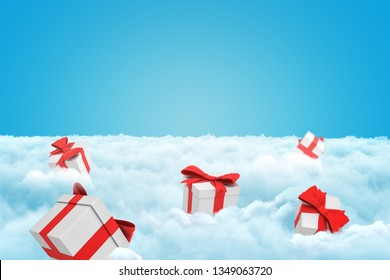 3d rendering of several gift boxes on a layer of white fluffy clouds with some copy space left in the sky. Heavenly gifts. Getting presents. Deals and perks.