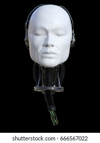 3D rendering of severed male robot head with torn cables coming out from the neck. Black background.