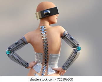 3D rendering of a sexy female android robot posing with her back against the camera. Gray background.