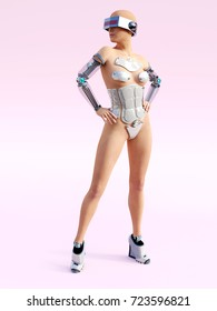 3D rendering of a sexy female robot posing against a pink background.