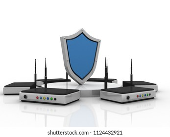3d rendering shield and router
