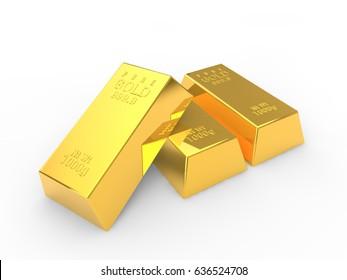 3D rendering of shiny gold bullion isolated on white background