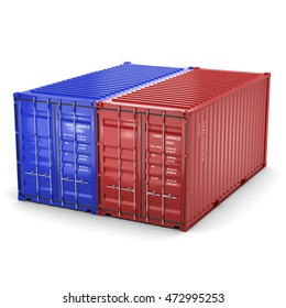3D rendering the ship a containers on a white background