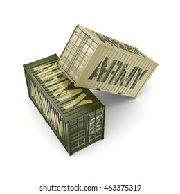 3D rendering ship khaki containers labeled Army