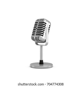 3d rendering of a silver metal retro tabletop microphone with a round base. Public speaking. Talking to audience. Master class.