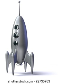 3D rendering of a silver rocket isolated on the white background.
