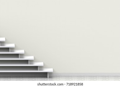 3d rendering. simple luxury stair with copy light yellow paper wall as background