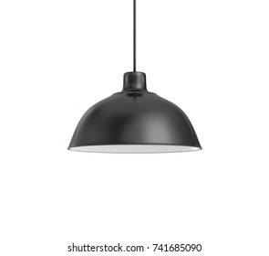 3d rendering of a single dark lamp fixture with a wide industrial metal design on a white background. Light source. Industrial lighting. Indoor electrical equipment.