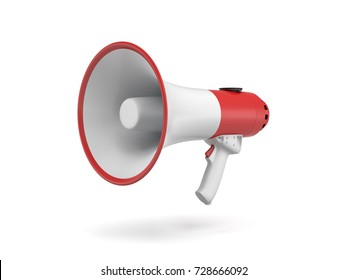 3d rendering of a single red and white megaphone isolated on white background. Public speaking. Make yourself heard. Public relations.