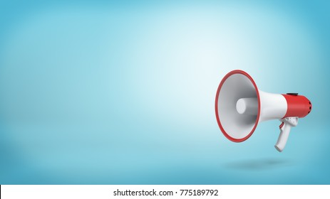 3d rendering of a single red and white electric megaphone with a handle stands on a blue background. Public speaking. Crowd control. Grab attention.