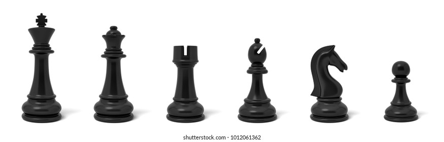 3d rendering of six different chess figurines in white color standing in a row. Board games. Recreation and leisure activities. Gaming supplies.