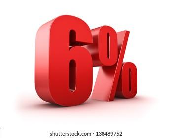 3D Rendering of a six percent symbol