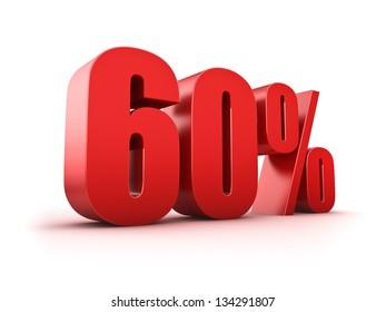 3D Rendering of a sixty percent symbol