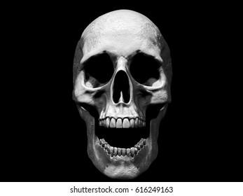 3D rendering  of a skull screaming in black background