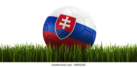 3d rendering of a Slovakian soccerball lying in grass