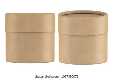3D rendering small kraft paper tube packaging mock up on white background