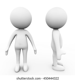 3d Rendering small people isolated on white background.