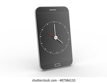 3d rendering of Smart phone with clock