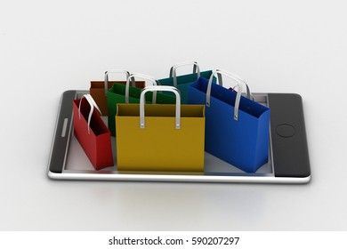 3d rendering of Smart phone with shopping bags