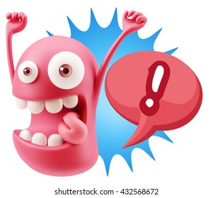 3d Rendering Smile Character Emoticon Expression saying ! with Colorful Speech Bubble
