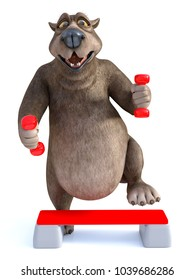 3D rendering of a smiling, charming cartoon bear exercising with dumbbells and a step up board. White background.
