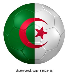 3d rendering of a soccer ball. ( Algeria Flag Pattern )