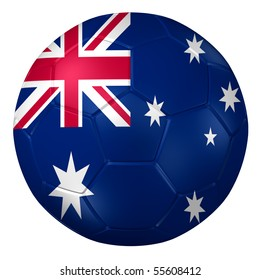 3d rendering of a soccer ball. ( Australia Flag Pattern )