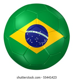 3d rendering of a soccer ball. ( Brazil Flag Pattern )