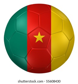 3d rendering of a soccer ball. ( Cameroon Flag Pattern )