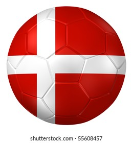 3d rendering of a soccer ball. ( Denmark Flag Pattern )