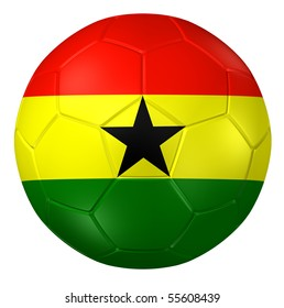 3d rendering of a soccer ball. ( Ghana Flag Pattern )
