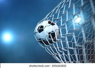 3d rendering soccer ball in goal. Soccer ball in net with spotlight or stadium light background, Success concept