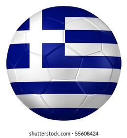 3d rendering of a soccer ball. ( Greece Flag Pattern )
