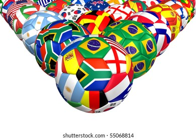 3D rendering of a soccer ball. ( International Flag Pattern )