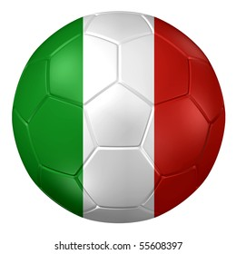 3d rendering of a soccer ball. ( Italy Flag Pattern )