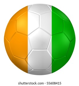 3d rendering of a soccer ball. ( ivory-coast Flag Pattern )