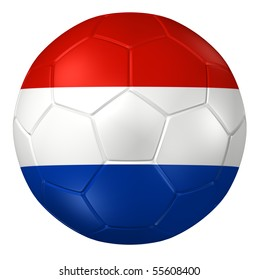 3d rendering of a soccer ball. ( Netherland Flag Pattern )
