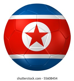 3d rendering of a soccer ball. ( North Korea Flag Pattern )
