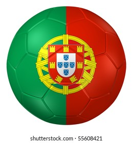 3d rendering of a soccer ball. ( Portugal Flag Pattern )