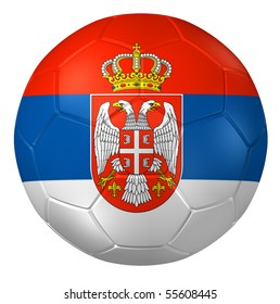3d rendering of a soccer ball. ( Serbia Flag Pattern )