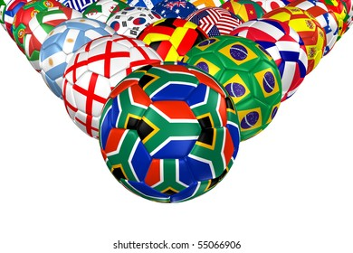 3D rendering of a soccer ball. ( South Africa Flag Pattern )