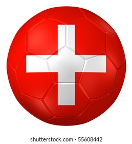 3d rendering of a soccer ball. (Switzerland Flag Pattern )
