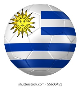 3d rendering of a soccer ball. (Uruguay Flag Pattern )
