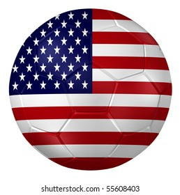 3d rendering of a soccer ball. ( USA Flag Pattern )