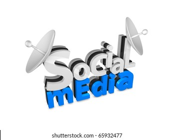 3d rendering. Social media 3d text concept, isolated on white background.