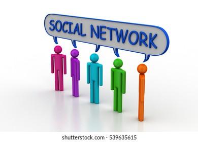 3d rendering of Social network concept