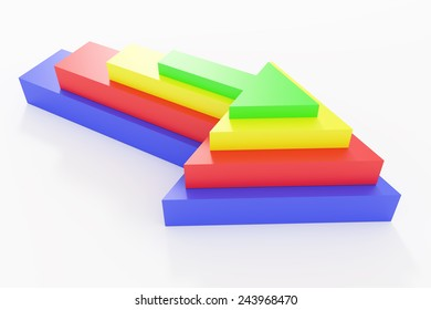 3d rendering of some colored arrows