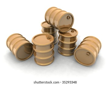 a 3D rendering of some golden barrels