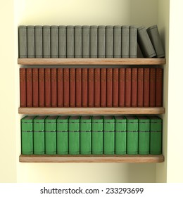 3d rendering of some old books on a library